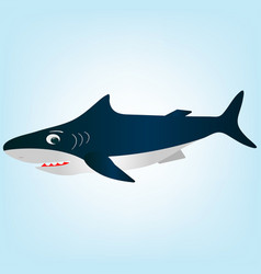 a frightened surprised white cartoon shark vector image