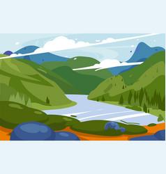amazing mountains landscape national park vector image