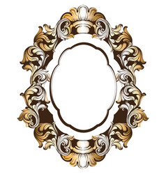 Baroque golden mirror frame french luxury vector