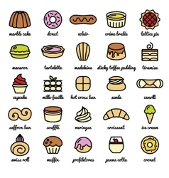 Big line icon set of world best desserts and vector