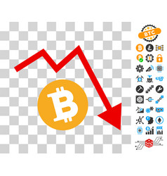 Bitcoin recession trend icon with bonus vector