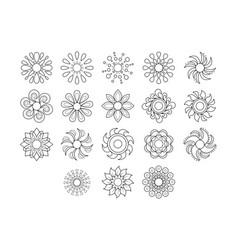 black line sun icon set vector image