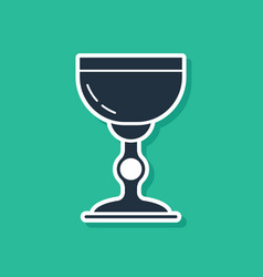 Blue jewish goblet icon isolated on green vector