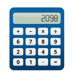 blue plastic calculator white buttons vector image