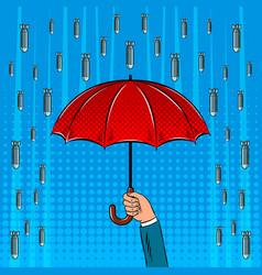 Bomb rain and umbrella pop art vector