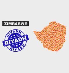 Burn mosaic zimbabwe map and distress riyadh stamp vector
