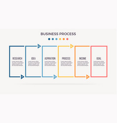 Business infographics banner with 6 steps vector