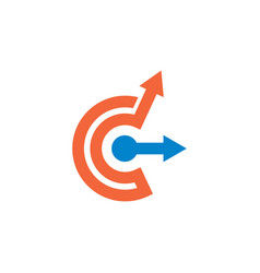 C letter arrow logo template icon vector