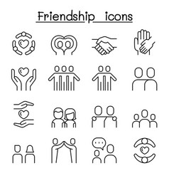 Care friendship icon set in thin line style vector