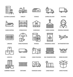 cargo transportation flat line icons trucking vector image