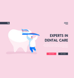 caries prevention and treatment landing page vector image
