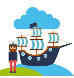Cartoon captain sailor in uniform with ship vector