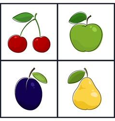 Cherry Apple Plum Pear vector