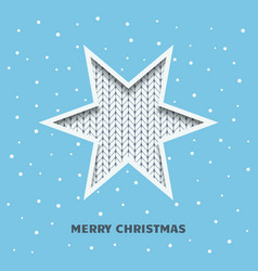 christmas greeting card with a star on a blue vector image