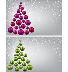Christmas tree with colorful christmas balls vector