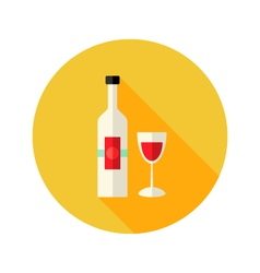 Christmas Wine Bottle with Glass Flat Icon vector image
