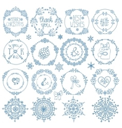 ChristmasNew year decor setWinter circle frames vector