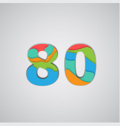 colorful papercut layered number vector image
