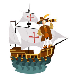 Columbus day poster with columb looking at vector