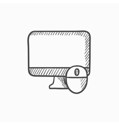 Computer monitor and mouse sketch icon vector
