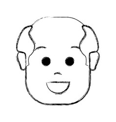 Contour happy face man with hairstyle vector