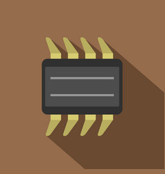 Cpu icon flat style vector