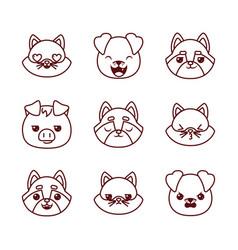 Cute kawaii animals cartoons line style icon set vector