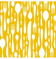 Cutlery pattern on yellow background vector image