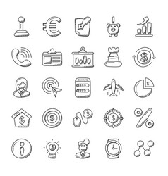 Doodle icons banking and finance vector
