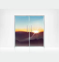 double closed glass doors and view behind them vector image