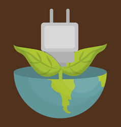 earth planet and electric plug vector image