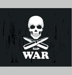 Emblem with guns skull icon on a dark vector
