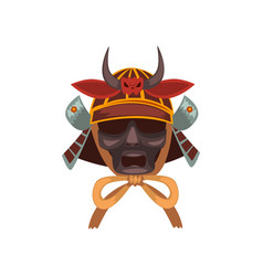 fearsome samurai warrior war mask vector image