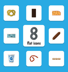 Flat icon food set of bratwurst yogurt smoked vector