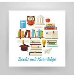 Flat Style Circle Set of Books Education and vector image