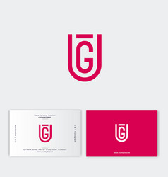 g and u shield monogram emblem flat linear letters vector image