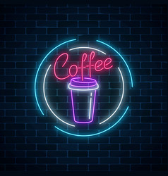 Glowing neon coffee cup sign on a dark brick wall vector