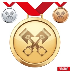 Gold medal with symbol pistons inside vector