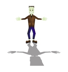 Halloween cartoon Frankenstein monster character vector