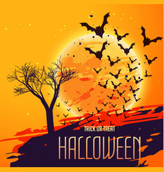 Halloween celebration background with flying bats vector
