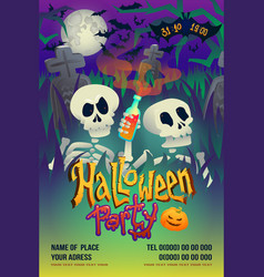 Halloween party flyer with skeleton on dark vector