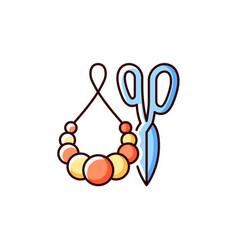Handmade pom pom jewelry rgb color icon vector