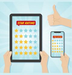 Hands choosing five stars rating on gadgets vector