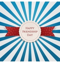 Happy Friendship Day Emblem with Ribbon vector image