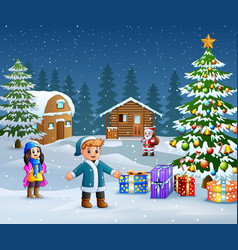 Happy kids wearing a winter clothes outdoor in chr vector