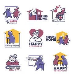 happy retirement for elderly people nursing home vector image