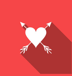 heart with arrow icon isolated with long shadow vector image