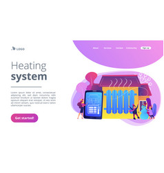 Heating system concept landing page vector
