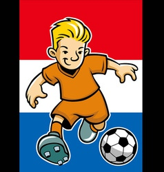 holland soccer player with flag background vector image