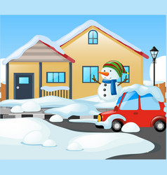 house covered with snow in winter vector image